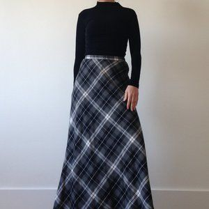 Limité - Grey & White Plaid Maxi Skirt